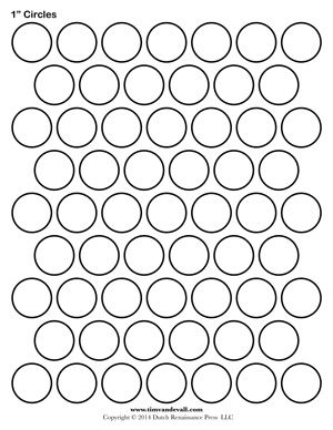 1 inch Circle Template Printable and many other sizes! | Bottle
