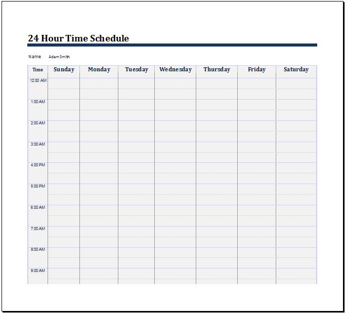 24 Hour Schedule Savebtsaco 24 Hour Work Schedule Template