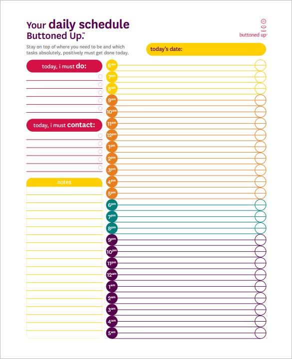 22+ 24 Hours Schedule Templates   PDF, DOC, Excel   Free & Premium