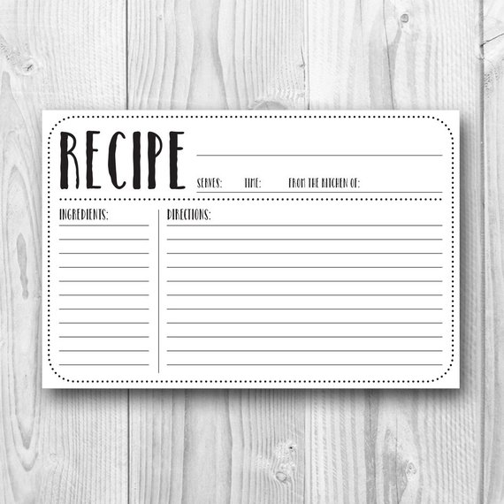 Printable Recipe Card   4x6 Recipe Card   Plain   Kitchen Decor