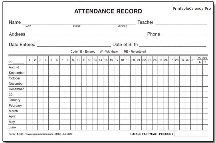 Free Employee Attendance Calendar | Employee Tracker Templates