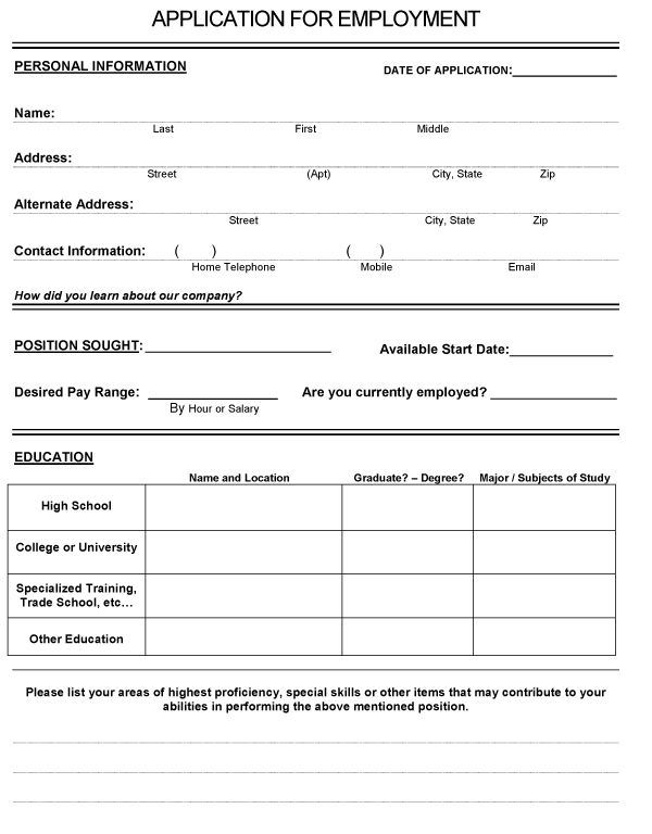 basic application for employment form   Demire.agdiffusion.com