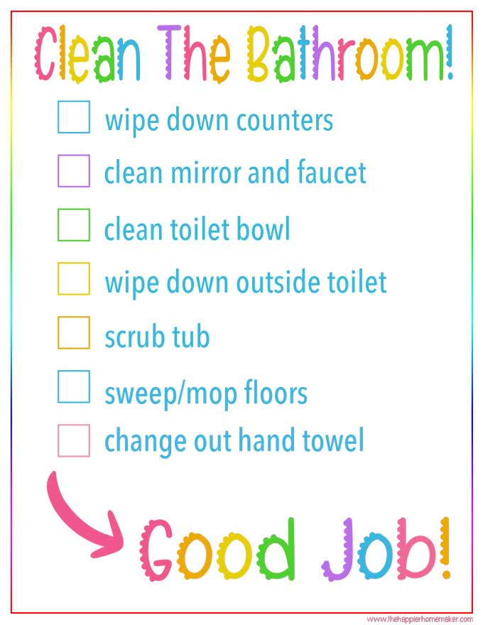 Kid's Bathroom Cleaning Checklist | Free Printable Cleaning Checklist