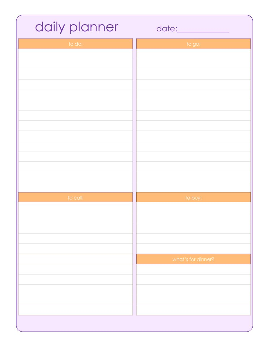 46 of the Best Printable Daily Planner Templates | Kitty Baby Love