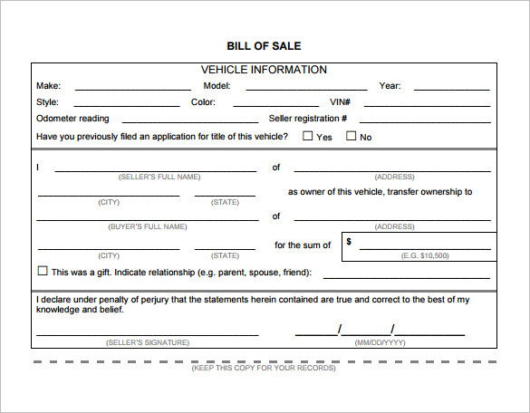 Bill of Sale Template   44+ Free Word, Excel, PDF Documents