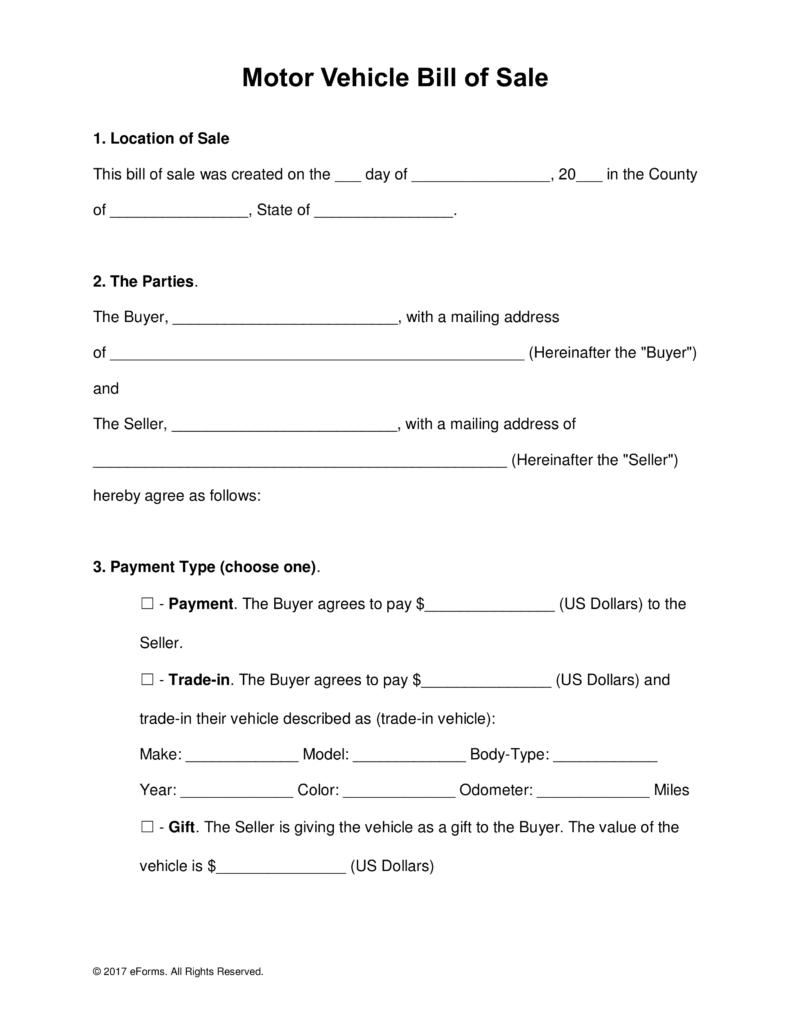 Bill Of Sale Form Pdf | bravebtr