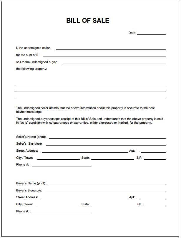 Free Blank Bill of Sale Form | PDF Template | Form Download