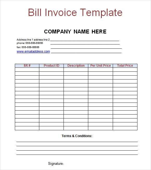Blank Billing Invoiceemplate Bill Dollar Money Pay Free Printable