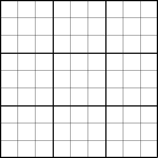 Blank Sudoku Grid