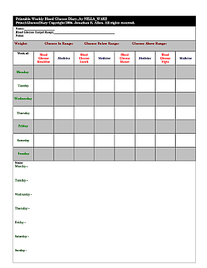 Printable Blood Sugar Log | T1 Everyday Magic
