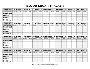 Blood Sugar Tracker   Printable for Health, Medical, Fitness