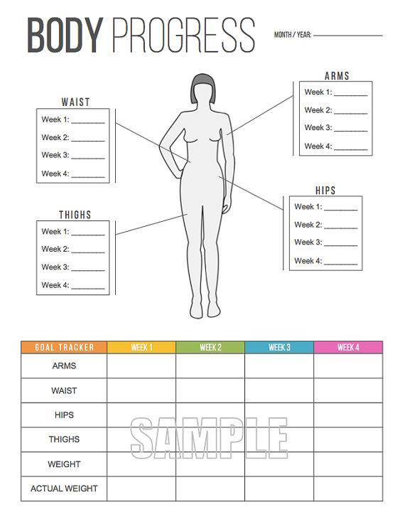 Body Progress Tracker Printable   Body Measurements Tracker