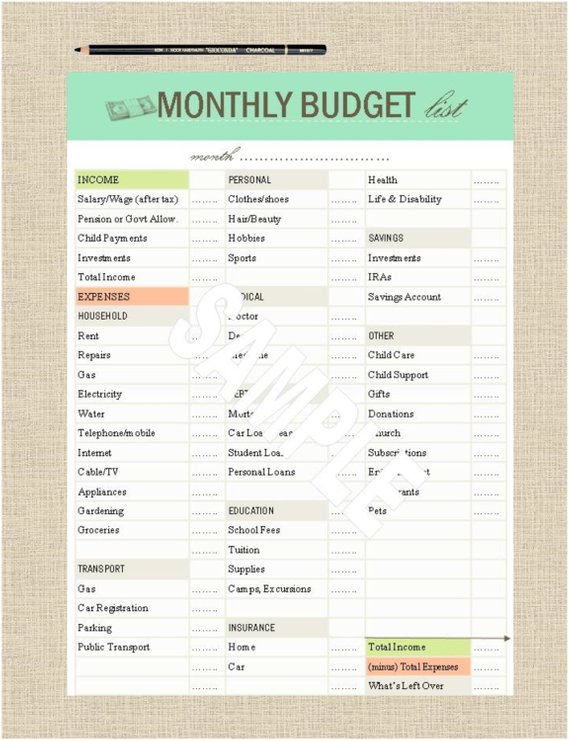 Printable Grocery List Budget