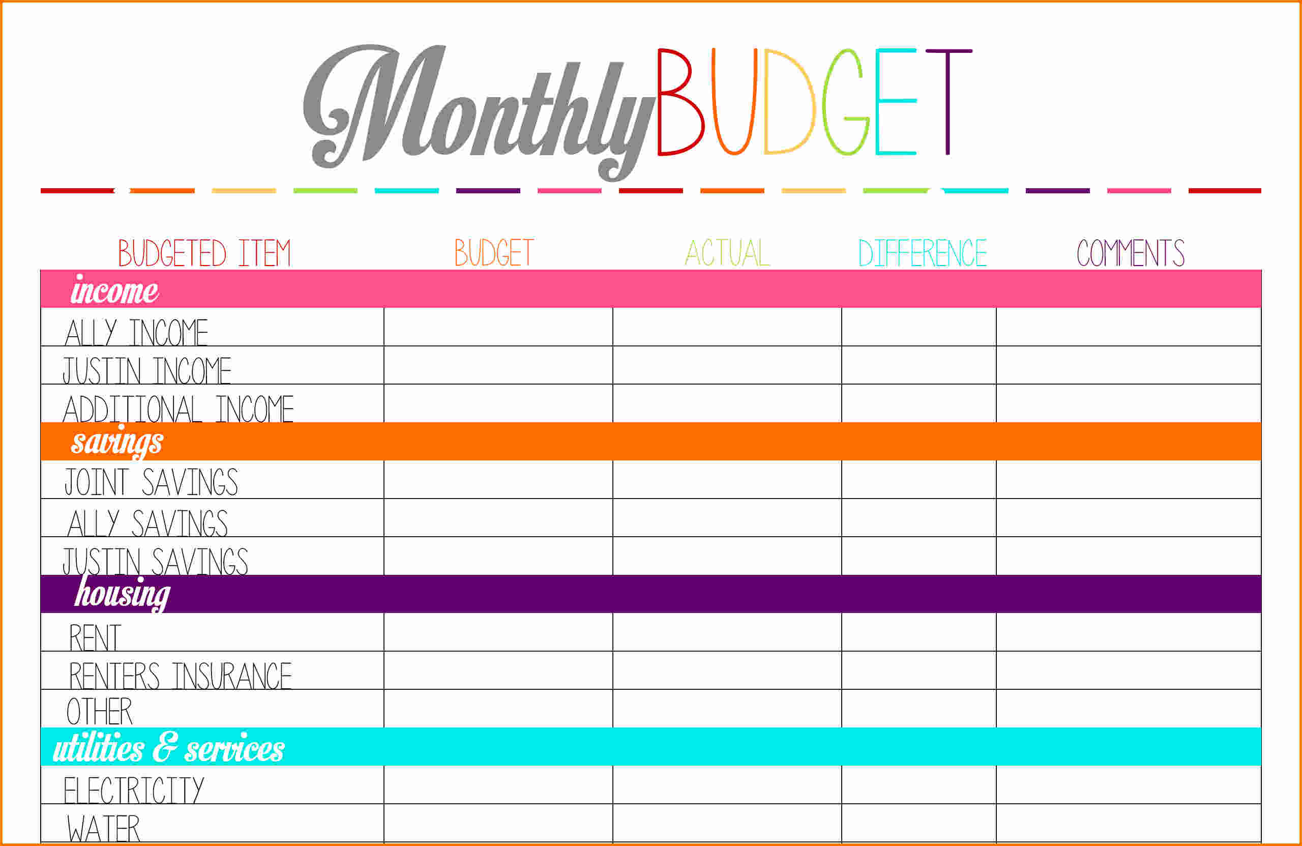 budget planner printable   Demire.agdiffusion.com
