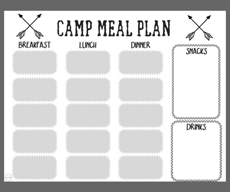 Free Printable Camping Food List + Menu Plan   Must Have Mom
