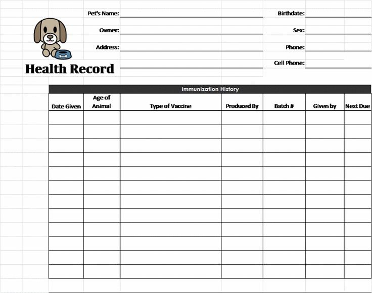 Printable Pet Health Record