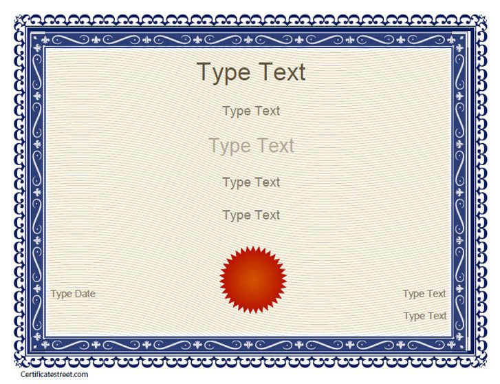Free Certificate Templates | Blank Certificates   Free Printable