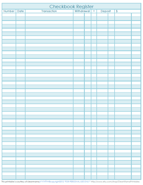 Checkbook Register   Freebie Printable | Top Organizing Bloggers