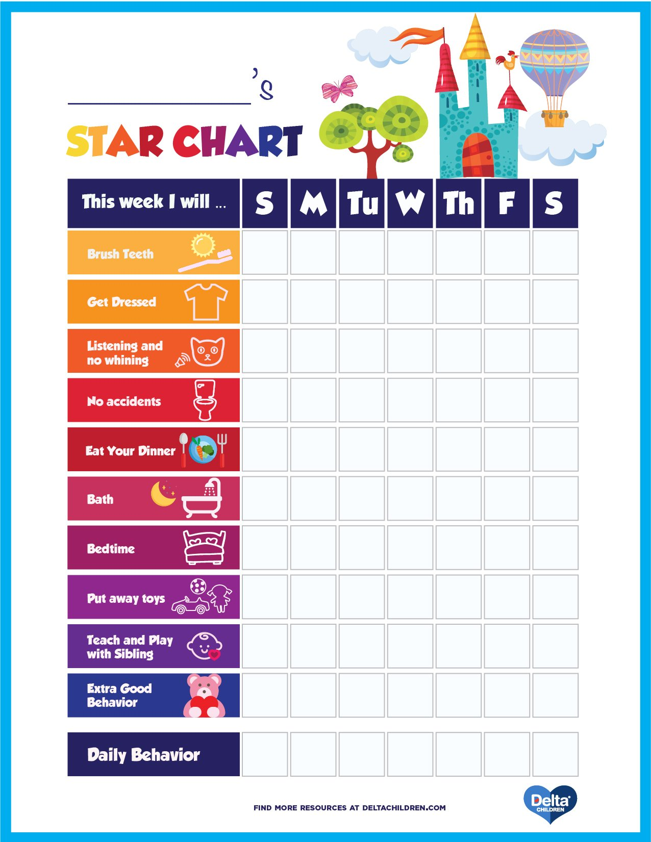 Printable Kids' Star Behavior Chart | Delta Children | Delta Children