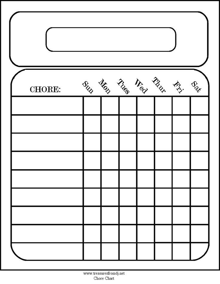 Free Blank Chore Charts Templates | Printables for the home! Chore