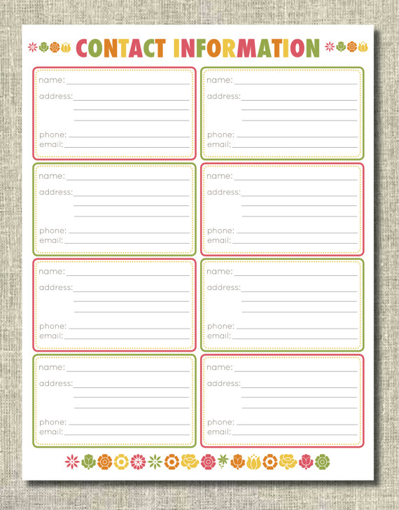 Printable Cancer Planner Contact Info Sheet