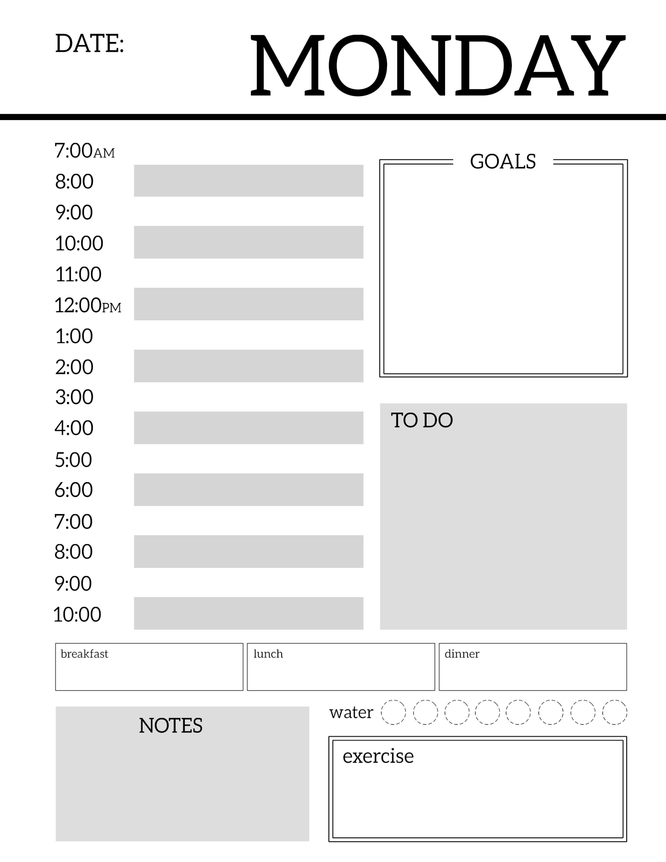 Daily Planner Printable Template Sheets   Paper Trail Design