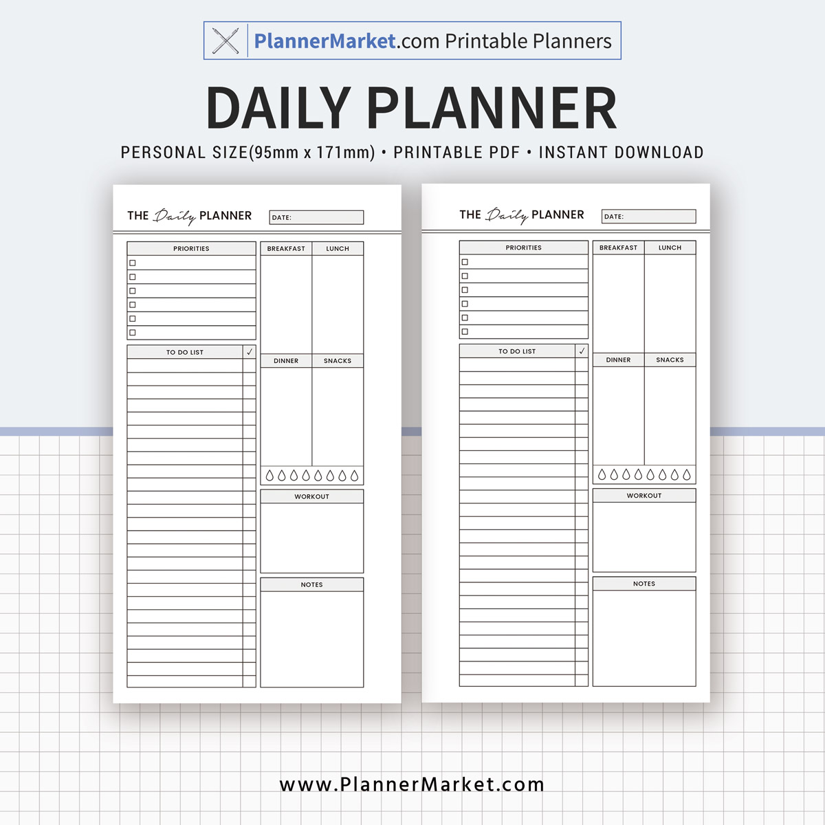 Daily Planner, 2018 Planner, Personal Size Inserts, Planner Refill