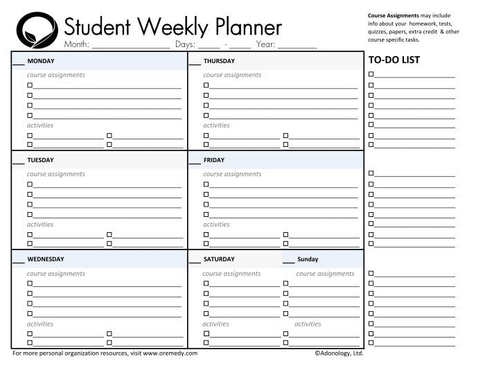 day planner printable | student planners student daily planner