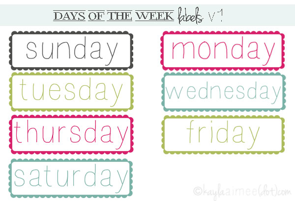 image relating to Printable Days of the Week referred to as Working day Of The 7 days Printable retail store fresh new