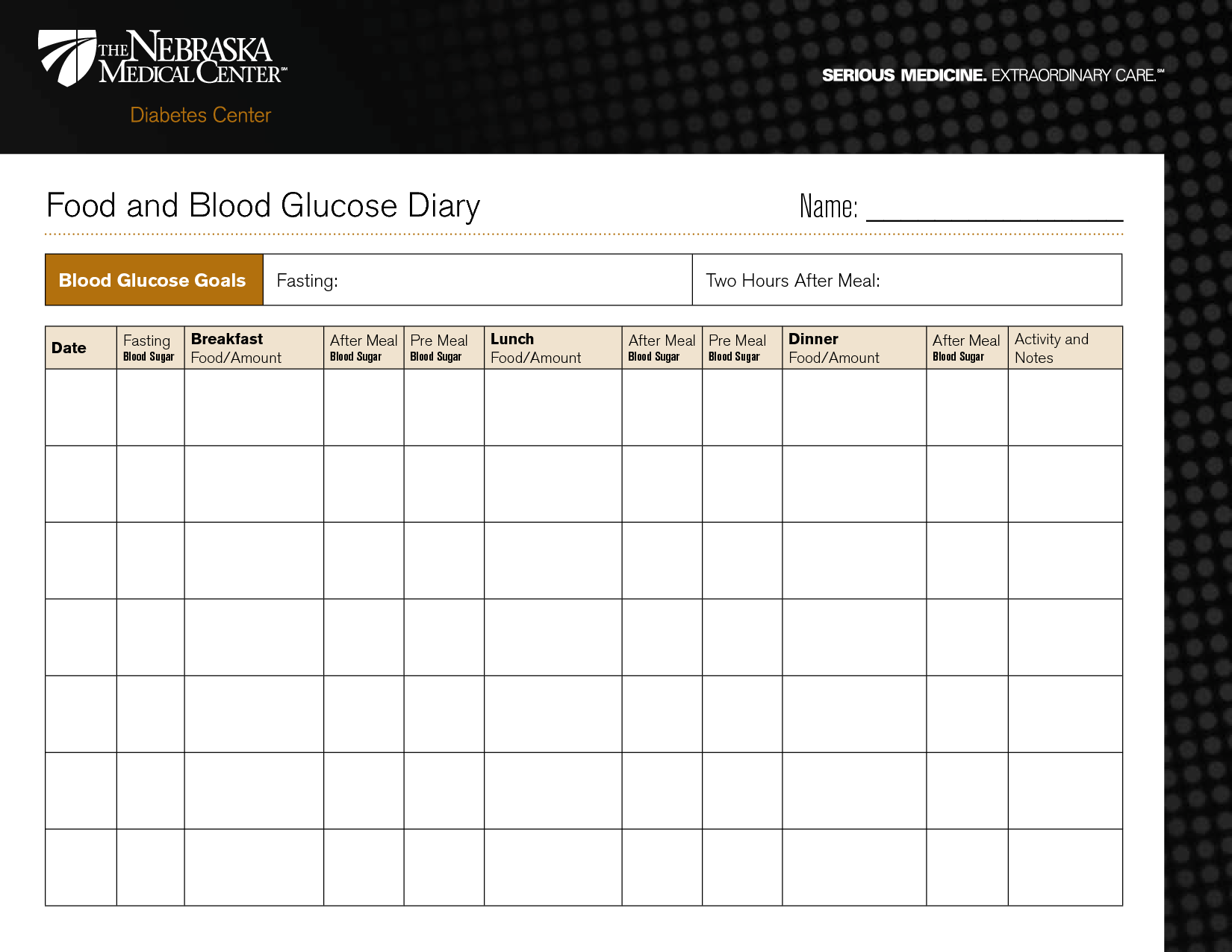 Printable Blood Sugar Diary