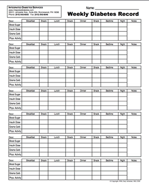 Printable Diabetes Logsheets   Integrated Diabetes Services