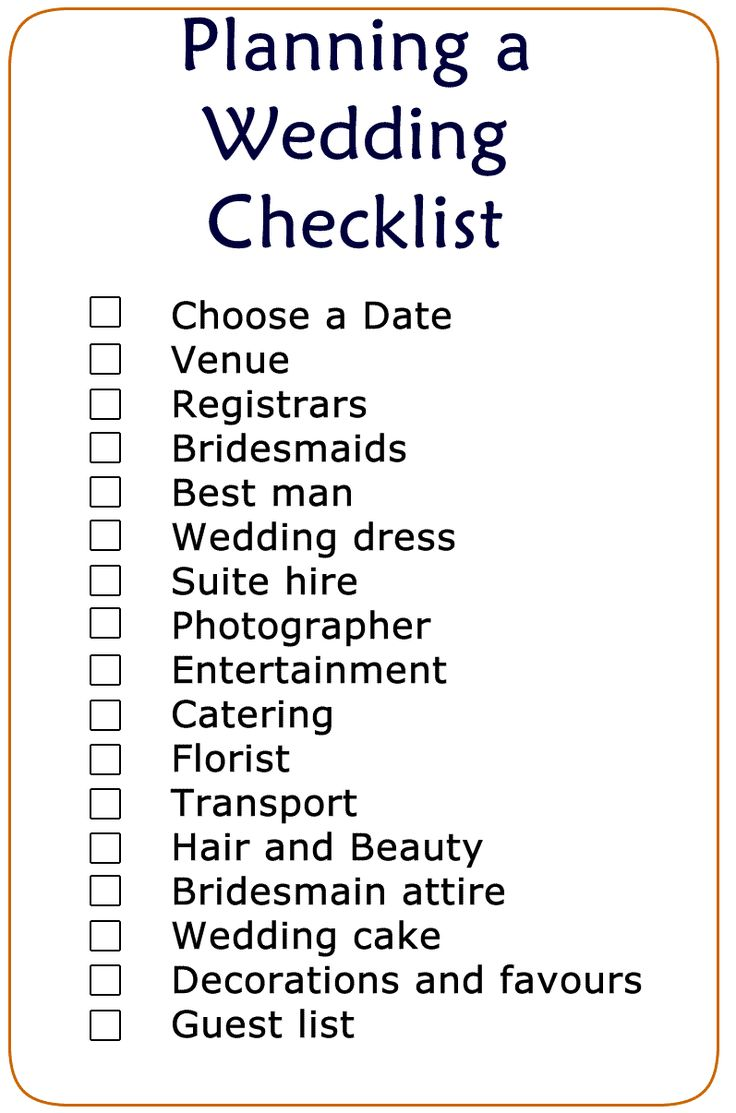 Basic Wedding Checklist Printable | Wedding Checklist | Pinterest