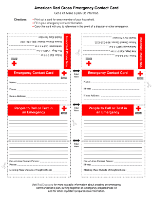 33 Printable American Red Cross Emergency Contact Card Forms and