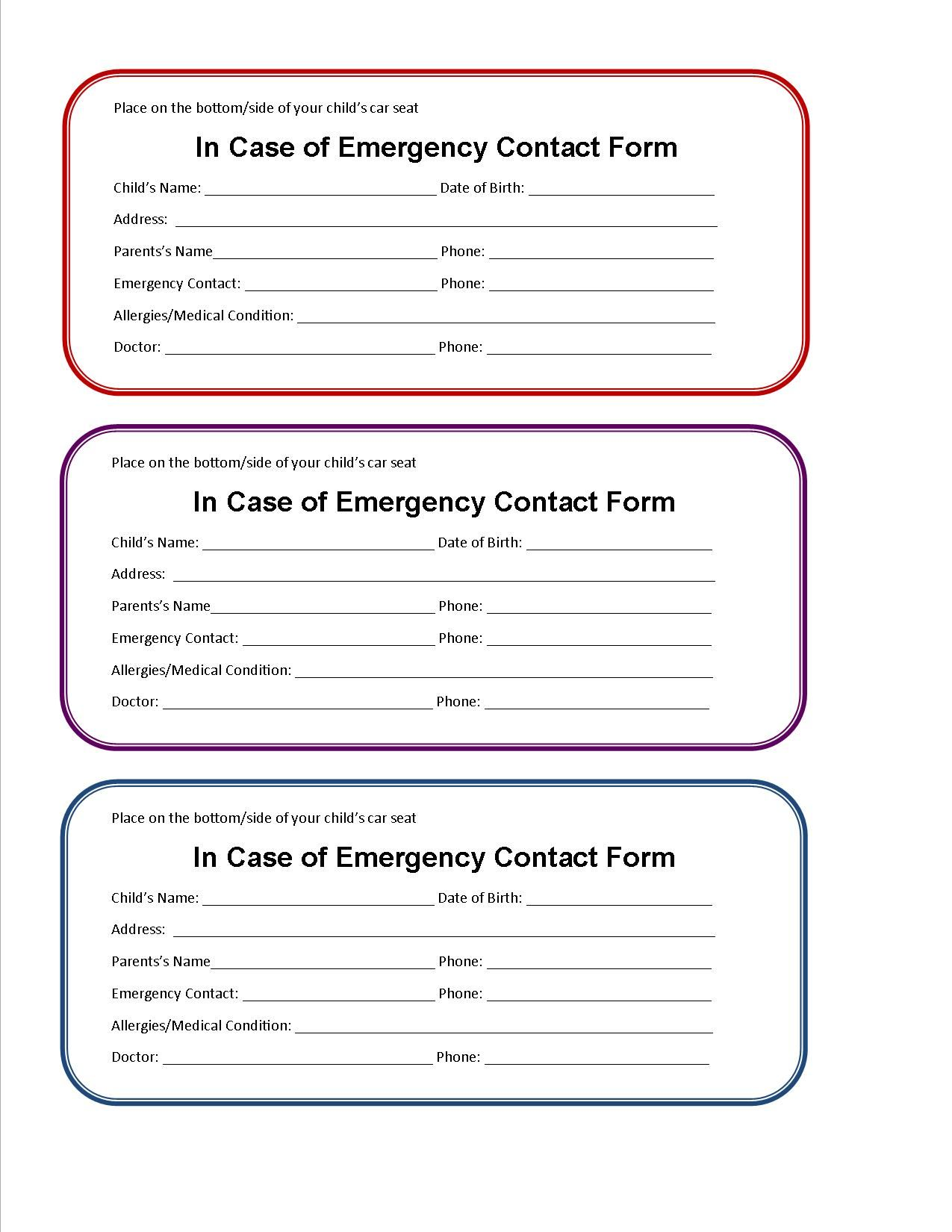 Free, Printable Emergency Contacts Card to Leave with the