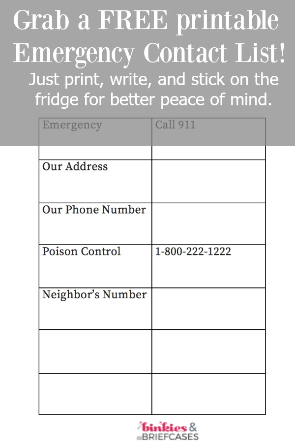 Free Printable Emergency Contact List • Binkies and Briefcases