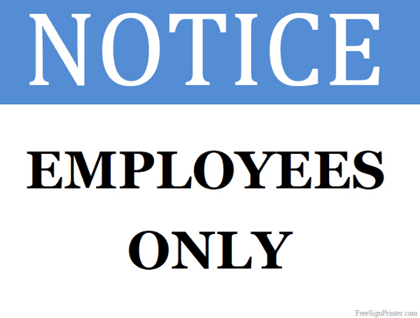 Printable Employees Only Sign