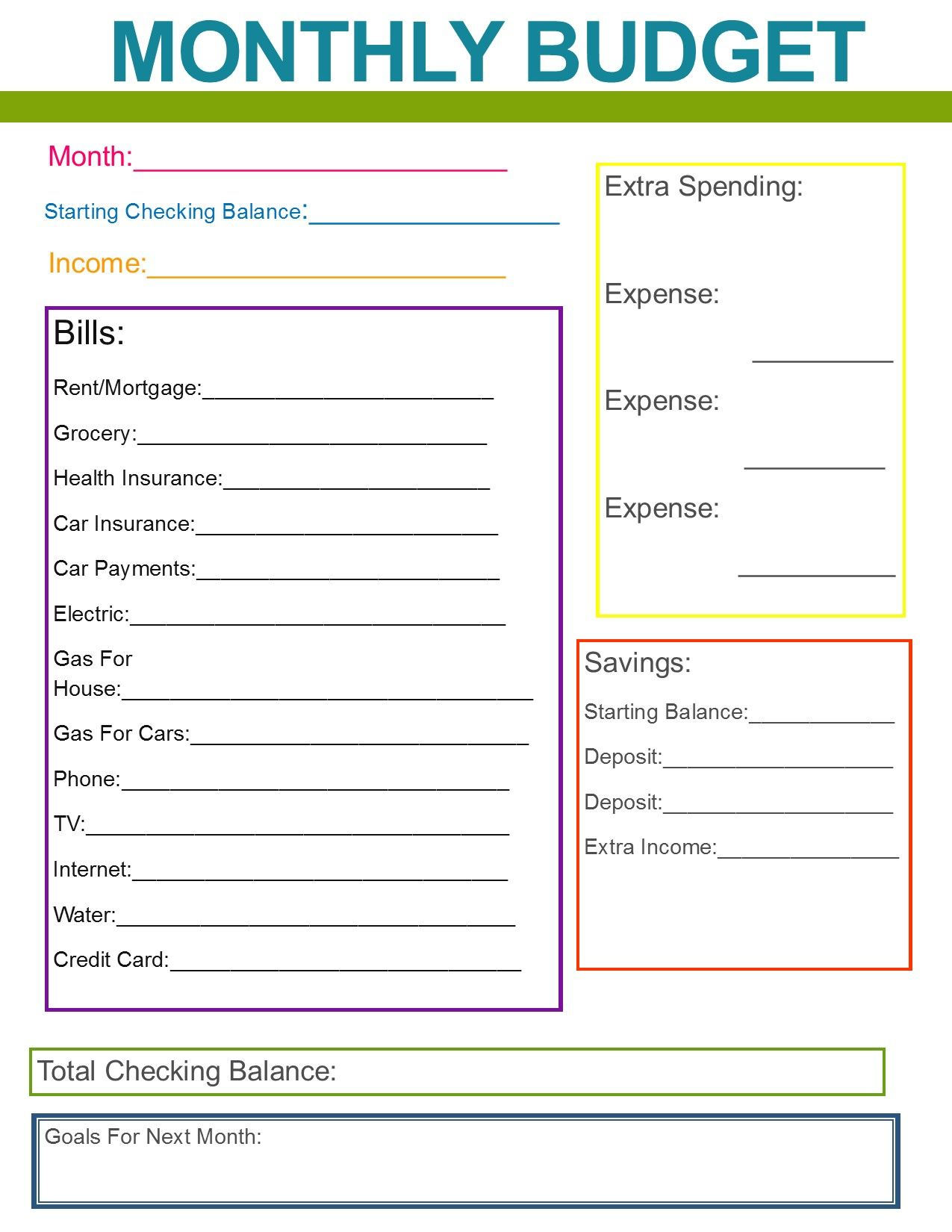 Family Monthly Budget Planner Colorful
