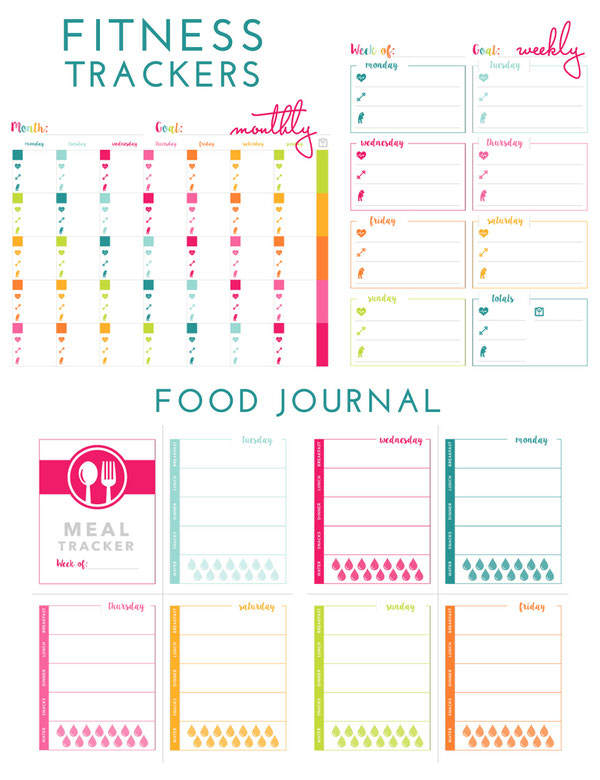 Printable Fitness Trackers and Food Journal | The Homes I Have Made