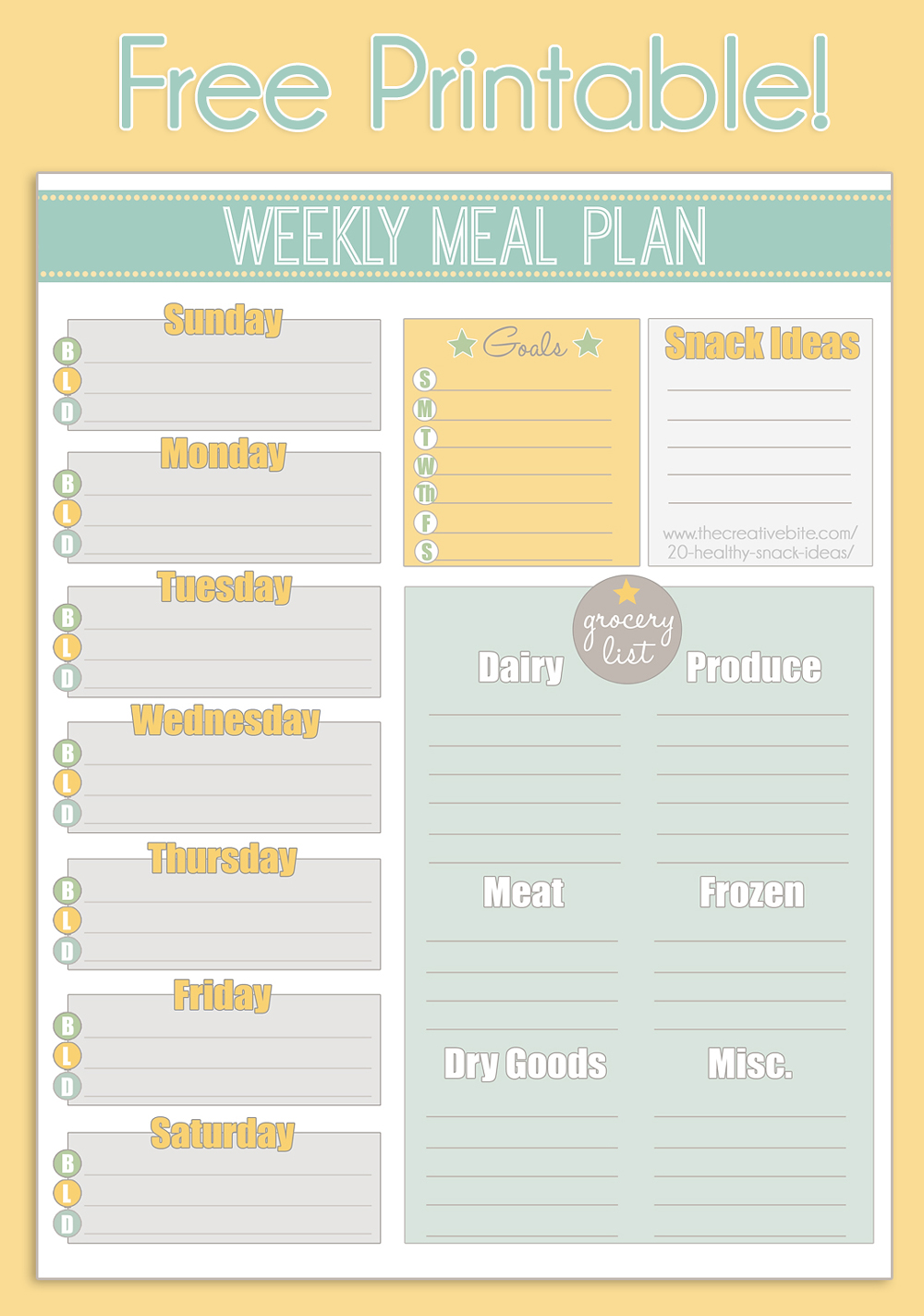 Free Printable Weekly Meal Planner + Calendar