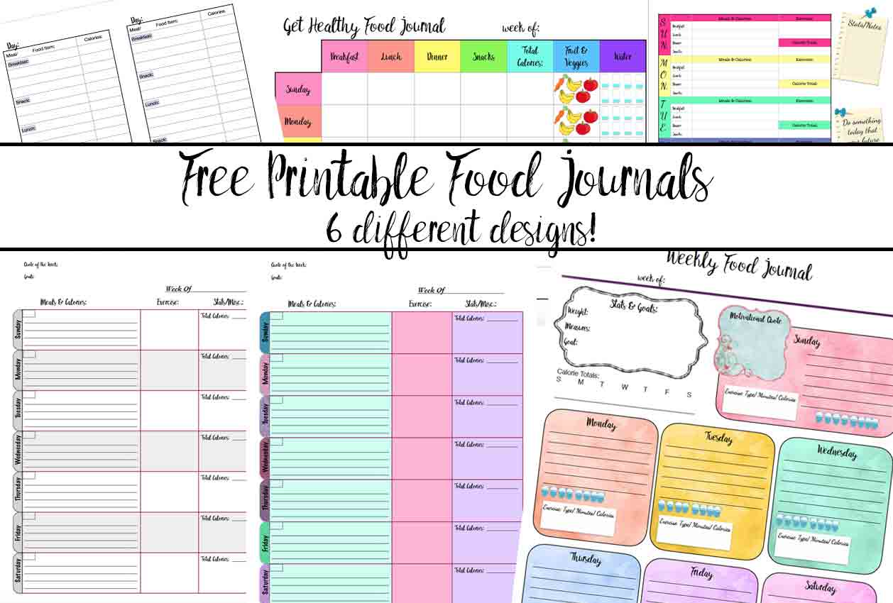 Free Printable Food Journal: 6 Different Designs