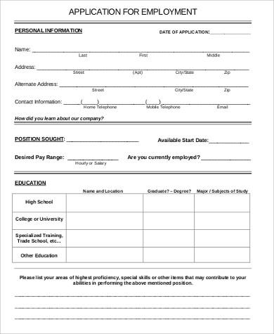 6+ Sample Printable Job Applications | Sample Templates