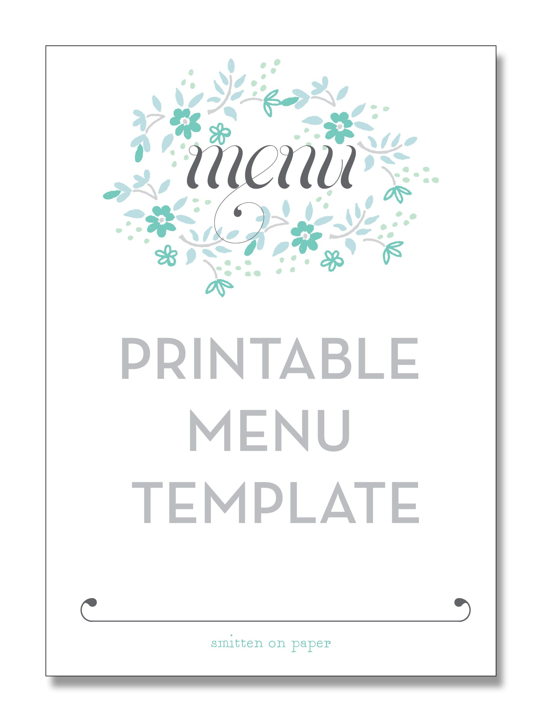 Freebie Friday: Printable Menu | Party Time! | Pinterest | Party