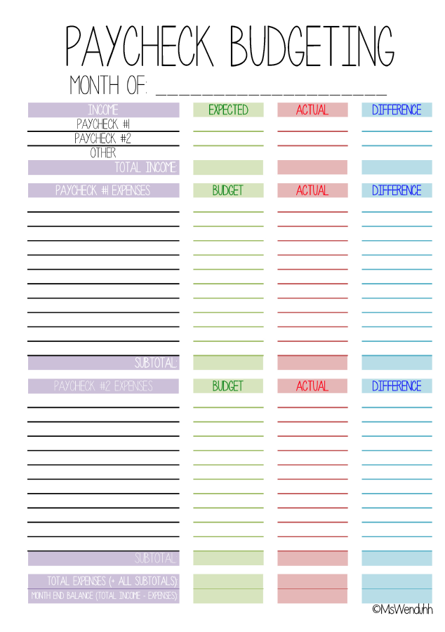 Paycheck Budgeting Printable (MsWenduhh) | DIY: Notebooks