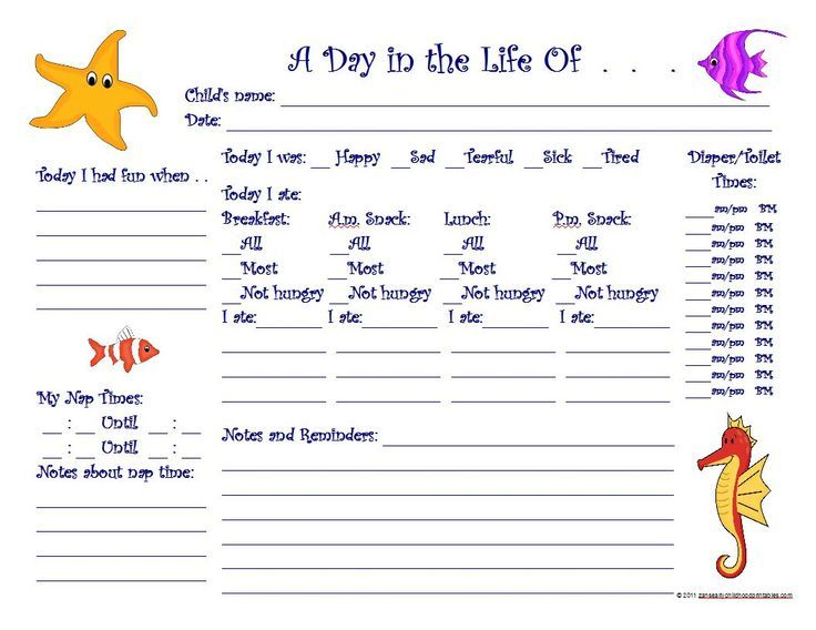 Free Printable Preschool Progress Reports | under the sea daily