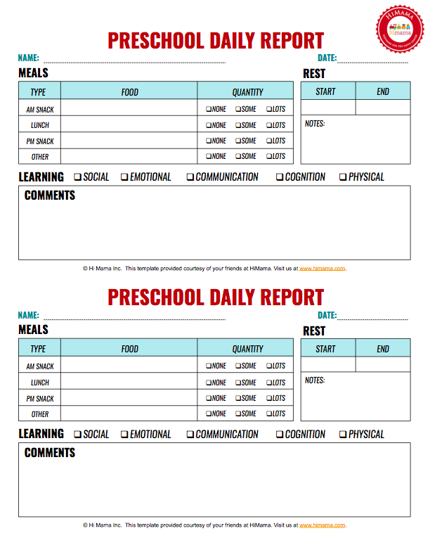 HiMama   Daycare Daily Sheets, Reports, Forms and Templates: Resources