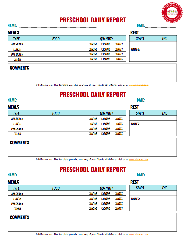 Preschool Daily Reports cakepins.| junior assesment record