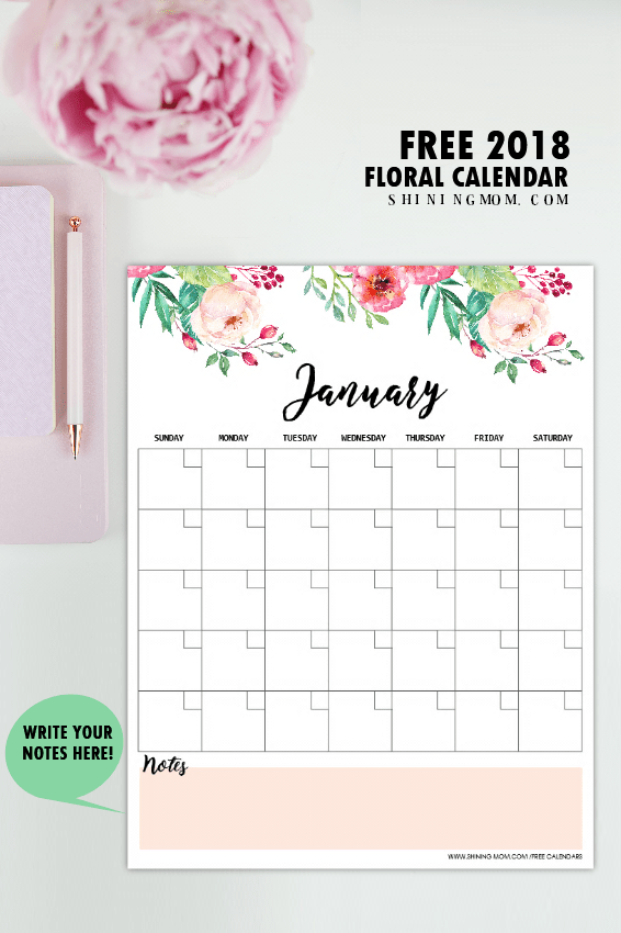 Free Printable 2018 Monthly Calendar and Planner in Florals