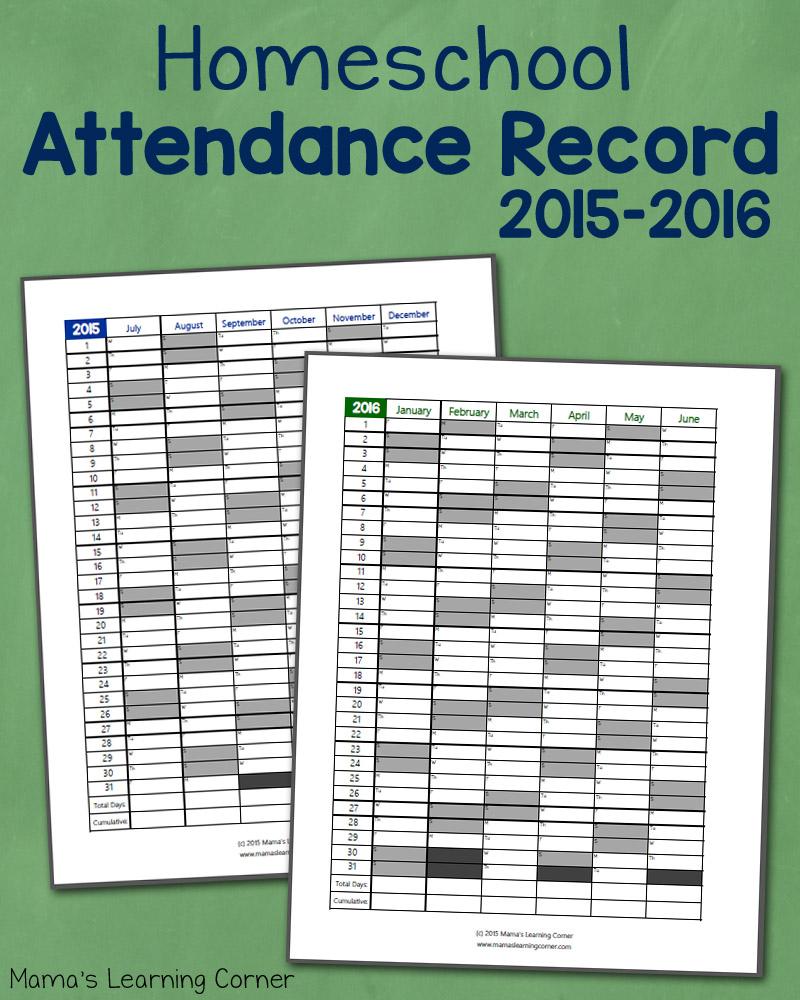 Free printable Attendance Record (PDF) from Vertex42.