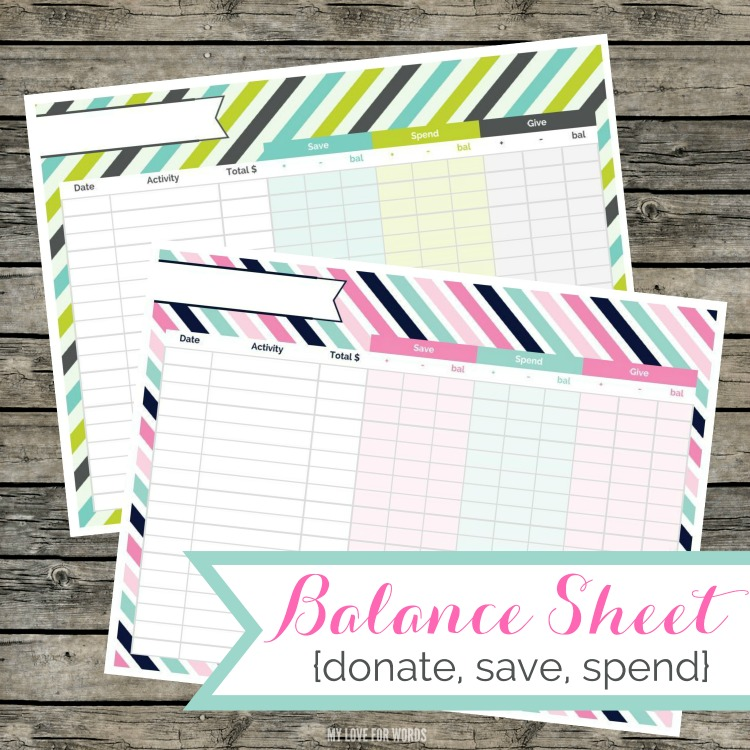 Free Printable Balance Sheet for Chores   Life of a Homeschool Mom
