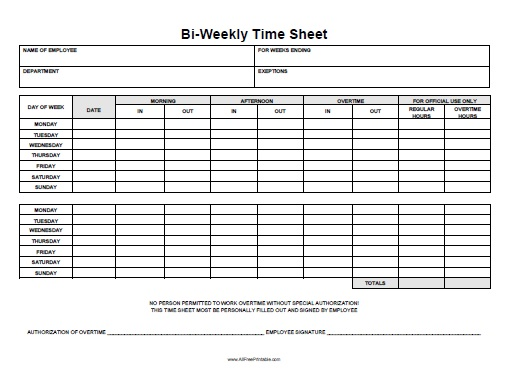Free Weekly Time Sheets Bi Weekly Timesheets Oklmindsproutco